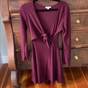 Maroon/red thermal faux wrap dress